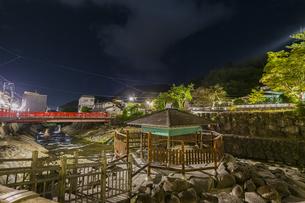 夜の修善寺温泉 独鈷の湯と虎渓橋の写真素材 [FYI04846563]