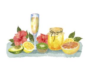 果物と蜂蜜とハイビスカスとジュースのイラスト素材 [FYI04846752]