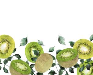 キウイフルーツと葉っぱの水彩イラストのイラスト素材 [FYI04846753]