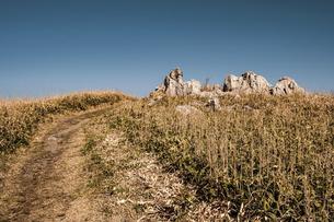 【自然風景】青空の下の四国カルストの写真素材 [FYI04846862]