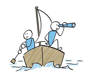 船で航海する船乗り 棒人間のイラストのイラスト素材 [FYI04846906]