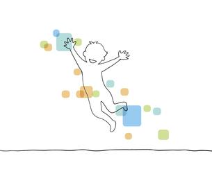 ジャンプして喜ぶ線画イラスト 色付きのイラスト素材 [FYI04847737]