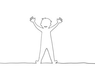 手を挙げている人の線画イラストのイラスト素材 [FYI04847738]