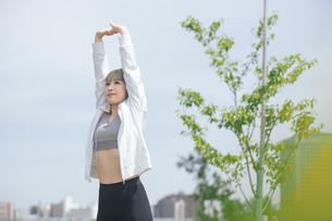 屋外で柔軟体操をする女性の写真素材 [FYI04848625]