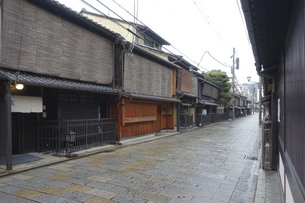 雨の京都、祇園新橋(重要伝統的建造物保存地区)界隈の写真素材 [FYI04849374]