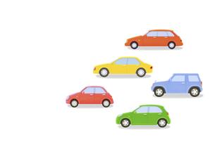 カラフルな5台の車の写真素材 [FYI04849558]