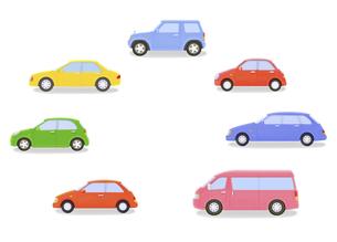 カラフルな7台の車の写真素材 [FYI04849559]