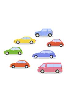 カラフルな7台の車の写真素材 [FYI04849560]