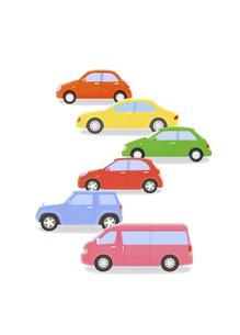 カラフルな6台の車の写真素材 [FYI04849561]