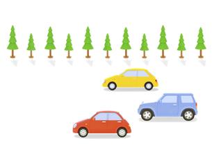 カラフルな3台の車と街路樹の写真素材 [FYI04849562]