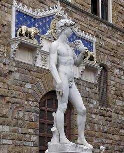 フィレンツェ シニョーリア広場のダビデ像の写真素材 [FYI04849745]