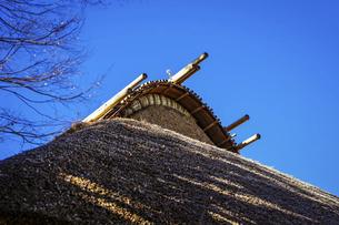 妻側・茅葺屋根の伝統建築(世田谷代官屋敷)の写真素材 [FYI04850102]