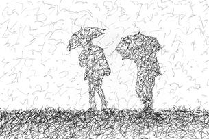雨傘をさして歩く人々のペン画のイラスト素材 [FYI04850160]