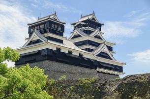 熊本城「足場が消えた復旧天守輝く熊本城」2021年春の写真素材 [FYI04850801]
