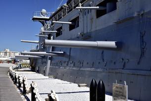 戦艦三笠の補助砲群の写真素材 [FYI04850897]