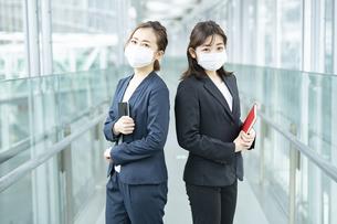 マスクをつけて立ち話するビジネスウーマンの写真素材 [FYI04850914]
