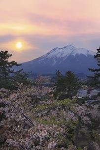 夕日と岩木山に桜の写真素材 [FYI04851205]