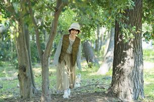 明るい森を散策する若い女性の写真素材 [FYI04851689]