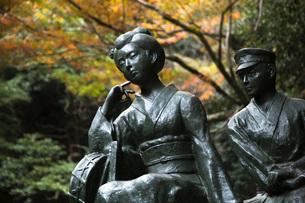 河津七滝にある伊豆の踊子像と紅葉の写真素材 [FYI04853133]