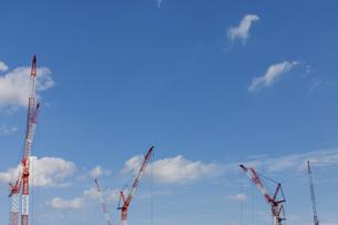 新興開発地域のクレーンと青空の写真素材 [FYI04853888]