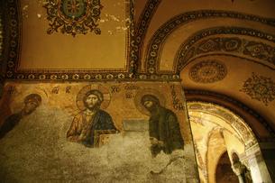 世界遺産アヤソフィアのデイシスのモザイクイコンの写真素材 [FYI04853897]