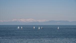 小樽の海とヨットの写真素材 [FYI04854051]