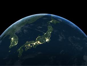 夜間の日本を主体の地球のイラスト素材 [FYI04855092]