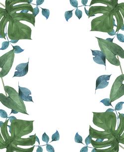 トロピカルな葉っぱのフレーム 水彩イラストのイラスト素材 [FYI04855141]