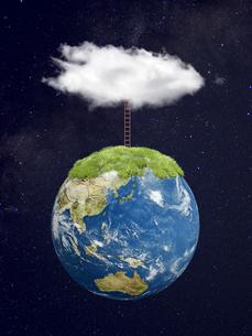 宇宙空間と地球上部に立つ梯子と雲のイラスト素材 [FYI04855174]