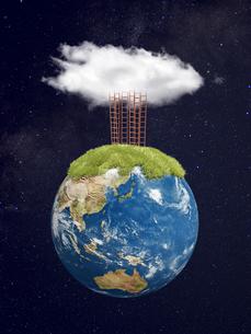 宇宙空間と地球上部に複数立つ梯子と雲のイラスト素材 [FYI04855176]