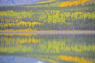 カラフルに染まる湖の写真素材 [FYI04855280]