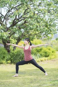 緑あふれる公園でヨガをする若い女性の写真素材 [FYI04855804]