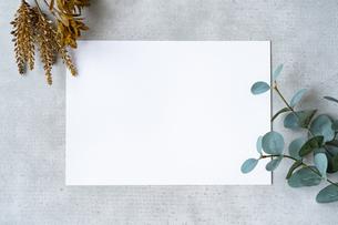 コンクリートの平面に置かれた白い紙の写真素材 [FYI04855930]