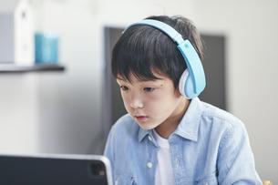 リビングでタブレットPCを見ながら勉強する男の子の写真素材 [FYI04856337]
