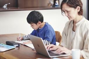 リビングで勉強する男の子とノートパソコンを使う女性の写真素材 [FYI04856353]