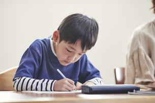 リビングで勉強する男の子とノートパソコンを使う女性の写真素材 [FYI04856357]