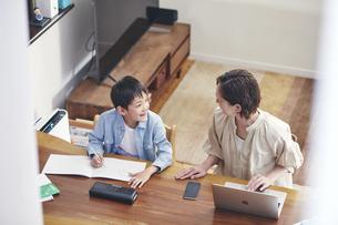 リビングで勉強する男の子とノートパソコンを使う女性の写真素材 [FYI04856502]