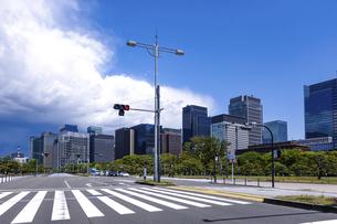 青空の広がる皇居前広場(内堀通り)から、東京駅方向となる丸の内ビル街を見渡すの写真素材 [FYI04856579]