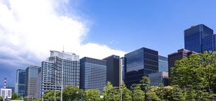 青空の広がる皇居前広場(内堀通り)から、東京駅方向となる丸の内ビル街を見渡すの写真素材 [FYI04856581]
