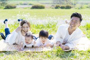 緑地で並んで寝そべる家族の写真素材 [FYI04857198]