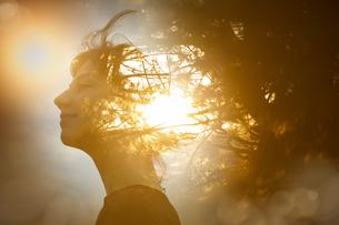 女性の横顔と木漏れ日の合成CGの写真素材 [FYI04857339]