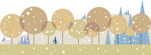 雪の降る日に森を走るのイラスト素材 [FYI04857563]
