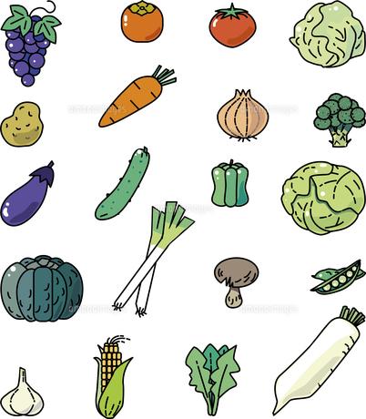 野菜カット集のイラスト素材 [FYI04857567]