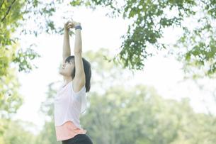 運動中に深呼吸をする女性の写真素材 [FYI04858038]