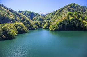 新緑のながい百秋湖の写真素材 [FYI04858571]