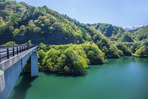 新緑のながい百秋湖の写真素材 [FYI04858573]