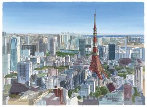 澄み渡る空気の中にそびえる東京タワーとビル群のイラスト素材 [FYI04858582]