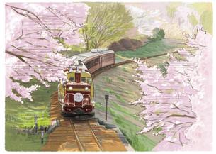 桜と花桃が沿線を彩るわたらせ渓谷鐵道のイラスト素材 [FYI04858585]