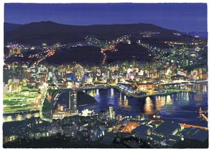 稲佐山から望む幻想的な夜景のイラスト素材 [FYI04858587]