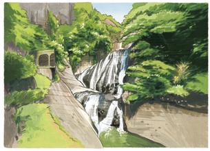 四季折々に様々な表情を見せる袋田の滝のイラスト素材 [FYI04858588]